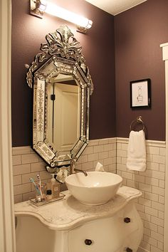 bathroom mirrors, half baths, mirror mirror, dark walls, bathrooms, venetian mirrors, sink, subway tiles, powder rooms