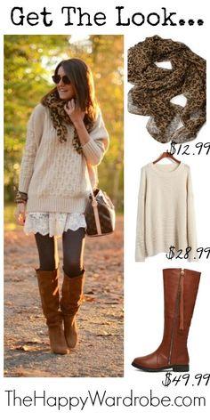 Big sweater lace trim dress dark tights saddle boots
