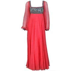 1970's Heavily-Beaded Sequin Pink Silk Chiffon Empire Bohemian Evening Gown