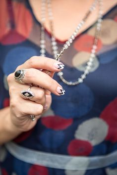 A black-and-white French manicure remix. #nailart