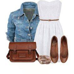 White Eyelet Dress, Denim Top, Belted