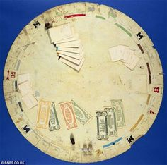 The original Monopoly game board made by Charles Darrow. Charles Darrow reportedly made about 5000 of these and this is the only one that still exists. It is made from a piece of oilcloth and is shaped like a circle 33-inches in diameter instead of the usual square shape we all know. For about $145,000 this might be the most expensive board game ever sold!