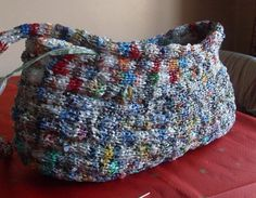 More Plastic Bag Recycling - Constructing The Basket picture tutorial crochet