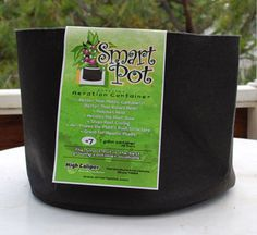 "Fabric pots (such as the ""Smart Pot"" shown here) are great containers for growing cannabis. Fabric pots help prevent overwatering while getting more oxygen to the plant roots. They're easy to use, and growers consistently get better cannabis growth in fabric pots than most other types of growing containers. They're also easy to make at home if you don't want to buy one from the store."