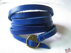 Blue Leather Fashion Bracelet With Metal Buckle by sevenvsxiao, $11.50