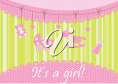 iCLIPART - Royalty Free Clipart Image of a Birth Announcement for a Girl