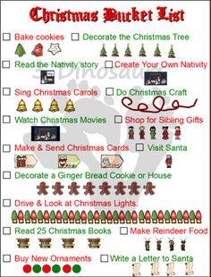 printabl christma, free christma, bucket lists, christma bucket