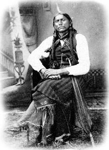Quanah Parker - last and only chief of all the Comanche tribes after being forced to live on a reservation in Oklahoma. Sought help in trying to locate his mother, Cynthia Ann Parker whom he hadn't seen in 16 years, since her re-capture by Texas Rangers.  Unfortunately she had died not long before and he was never able to see his mother again.