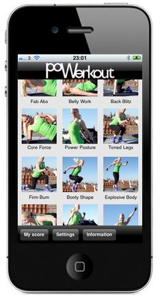 Poworkout Trim & Tone app- 24 fast workout routines containing cardio and strength training.