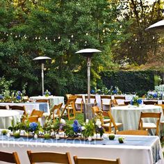 Backyard Wedding Decor    this is so lovely, gorgeous mix of tables in a  beautiful setting!