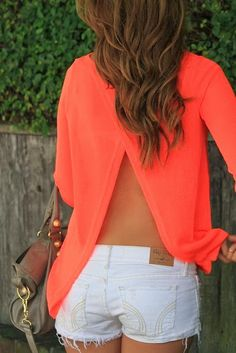 Open Back Shirt With Jeans Shorts