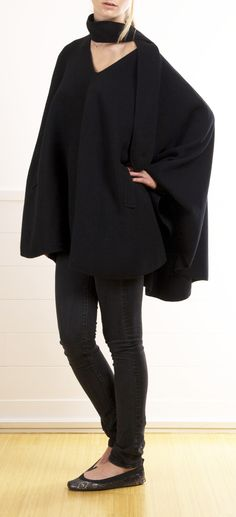 YVES SAINT LAURENT, RIVE GAUCHE PONCHO ( I like everything but the shoes. I'd have on a nice high boot)