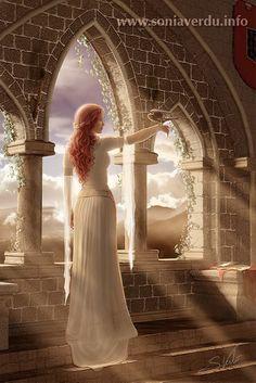 illustr fantasi, fantasi digit, digit art, digital paintings, morning light, queen, sonia verdu, digital art, fantasi art
