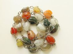 Vintage Wired Natural Stone Necklace 60s by GrandVintageFinery, $14.95