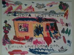 "Grief experts have found that children process their feeling and emotions through art. Provide paper, markers, and a table and chairs for children to draw while the service is taking place. Put the drawings in a book and give it as a keepsake. Emila made this drawing for her grandpa who had recently passed. She called it his death house and made every part of it happy. She drew clouds of hearts, the pink motorcycle balancing on a Christmas tree and the friendly shark (""because he needs pets"")"