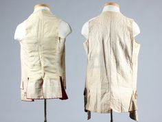 Item Description: Two gentlemen's waistcoats, 1760-70, one of ivory faille embroidered in wine chenille and silver thread in chain stitch c.1760, chest 112cm, 44in; the other of possibly Indian brocade with embroidered buttons and part lined in pink plush, chest 92cm, 36in (2)