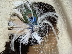 peacock feathers, blue peacock, peacock clip, birdcage veils, feather white, birdcag veil, teal blue, peacock wedding, wedding makeup