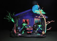 Friends enjoy spooky times at my glow in the dark (GID) halloween party barn in the forest...