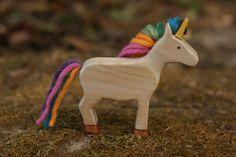 Rainbow Unicorn Wooden Toy - Nature Table - Waldorf Animal