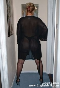 Sexy big ass British milf English wife in naughty see through sheer negligee lingerie, thong, black nylon stockings and high heels. Big butt women in stockings arse sexy big butts milf booty.