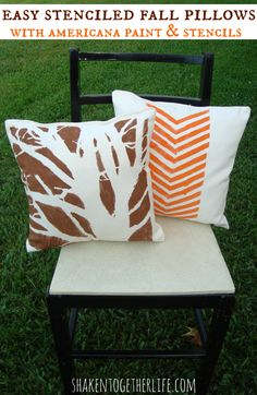 Easy stenciled pillows for Fall | shakentogetherlife.com