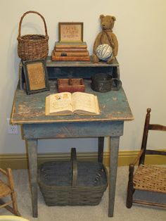Yesterday Once More child room, vignett, chairs, bears, writing desk, baskets, bathroom decor, blues, old books