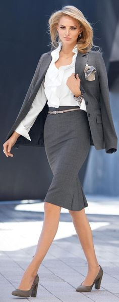 Here's a very lovely and lady-like gray suit for work. Liven it up with bright shoe.