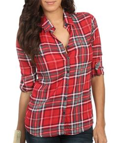 3/4 Oversized Plaid Shirt from WetSeal.com