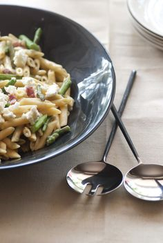 Asparagus and Pancetta Absorption Pasta