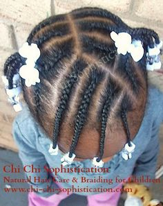 Cornrows in two ponytails w/ beads