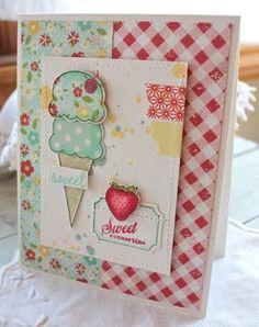 ice cream + strawberry card
