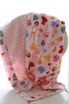 Snuggle Blanket by LukaMish - Paper Dolls                                                #baby #shower #blanket #girl #retro #pink $40                                  www.lukamish.blog...