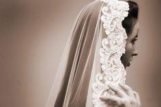 Love where this mantilla veil sits.