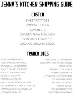 Clean eating grocery shopping list from Costco & Trader Joes. #jennaswhole30
