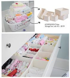 storage bins from ikea for the diapers and for clothes