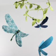 3 dragonflies dream of spring - fabric mobile