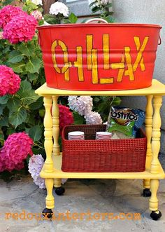 Pick up a cheap TV stand or cart from a thrift store or garage sale. Add wheels if necessary, an inexpensive galvanzed bucket and some MDF and you are on your way to a custom Drink and Snack Station! outside furniture, outdoor living, diy bbq party
