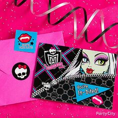 Be sure to include a fun save-the-date sticker in each invite! Click for more freaky fab inspiration in our Monster High party ideas guide.