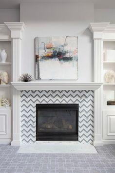 Chevron Fireplace tile! So fun.