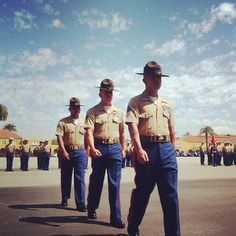 Drill instructors with Company H march during the graduation ceremony aboard #MCRD #Marines #USMC
