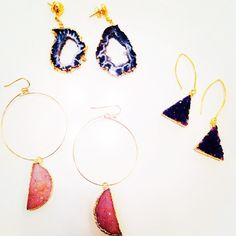 Rock it with these amazing druzy and geode earrings Knot + Bow Designs #geode #druzy #hoops #earrings #naturalsparkles #love #gold