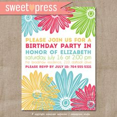 Printable Floral Birthday #Invitation by sweetpressStudio on Etsy, $10.00