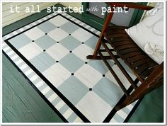 Painted rug ON A FLOOR for the front porch! Gorgeous! By It All Started With Paint