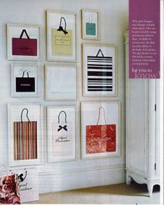 Framed shopping bags: closet artwork