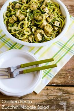 Chicken Pesto Zucchini Noodle Salad; we loved this salad with pesto vinaigrette bumping up the flavors! [from KalynsKitchen.com] #LowCarb #GlutenFree #CanBePaleo