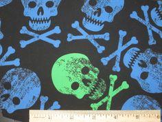 skull print, blue green, green skull