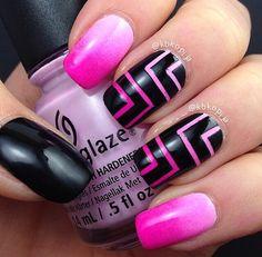 Pink :) nails blue black, pink nails, nail polish art, black nails, black hair color, geometric designs, nail design, beauty and nails, pretty nail art designs