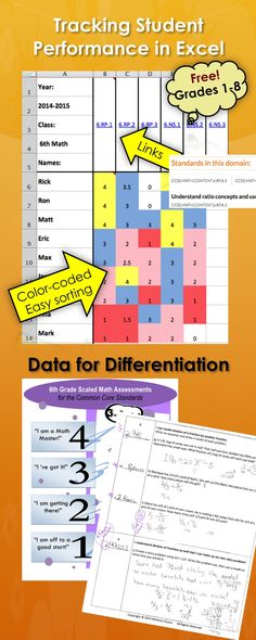 Free! - Excel Spreadsheet, color-coded for tracking common core math standards using scales.