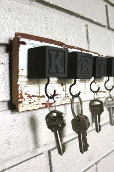 Spray paint kids' blocks -- cute key holder. :o)