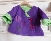 Veste bébé 3/6 mois velours violet et coton vert à pois colorés : Mode Bébé par fee-home